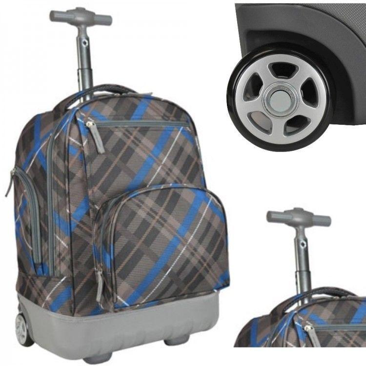 Boys School Rolling Backpack Lightweight Wheeled Book Bag Kids Travel Carry On Gear