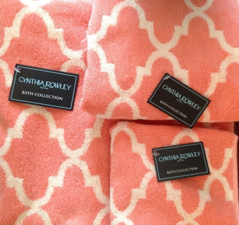 Cynthia Rowley Home Decor Collection: Cynthia Rowley Bath Towels Set (3 Piece) Quatrefoil
