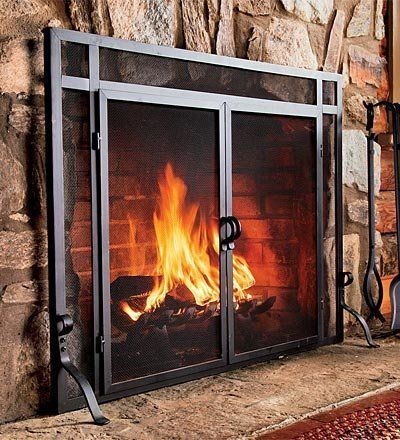44w X 33h Solid Steel Flat Guard Fire Screen With Doors In Black Fireplace Screens Ho Fireplace Screens With Doors Fireplace Screen Freestanding Fireplace