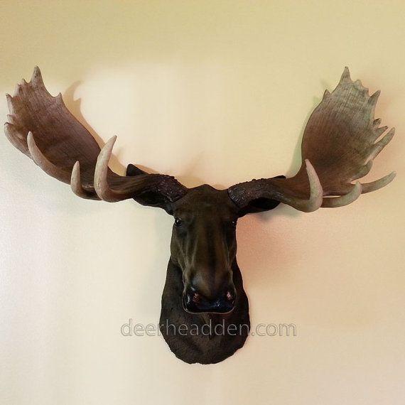 Moose Resin Head Life Like Animal Wall Mount Wall Decor Faux Head Wall Mount Wall Mount Faux Animal Head Animal Wall Mount Faux Deer Head