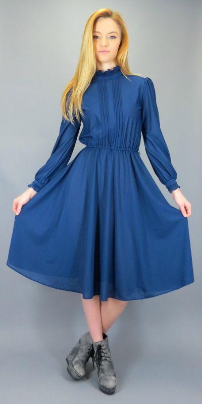 4e4b66a369a1 Vintage 70s 80s Navy Blue Midi Dress Semi Sheer High Ruffle Neck Classic  Secretary Day Dress Knee Length Full Sweep Skirt Long Sleeve by  BlueFridayVintage ...