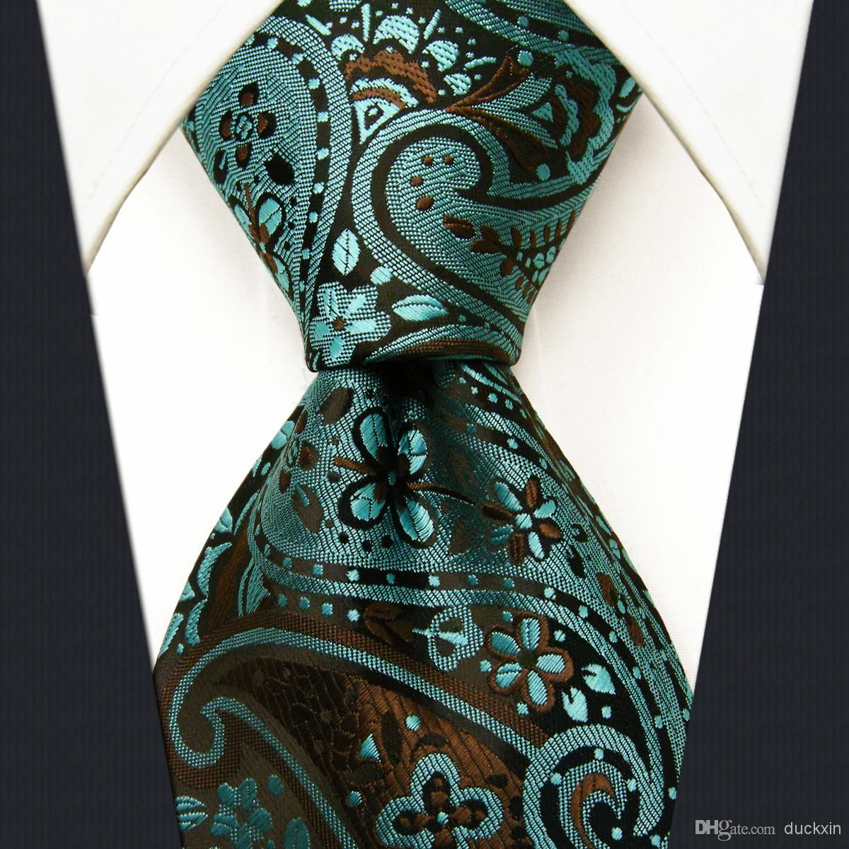 P17 Paisley Dark Turquoise Brown Mens Neckties Extra Long
