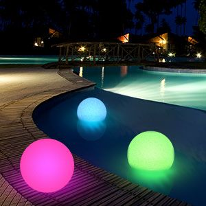 Pool Party Lighting Ideas perfect for the outdoor ping pong tables well have on the 10 Floating Led Ball Pool Party