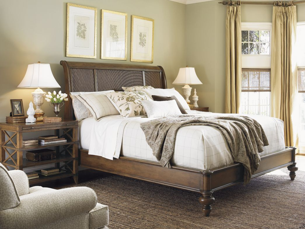 Master bedroom king bed Quail Hollow Dawson Open Nightstand  Lexington Home Brands  Cohen