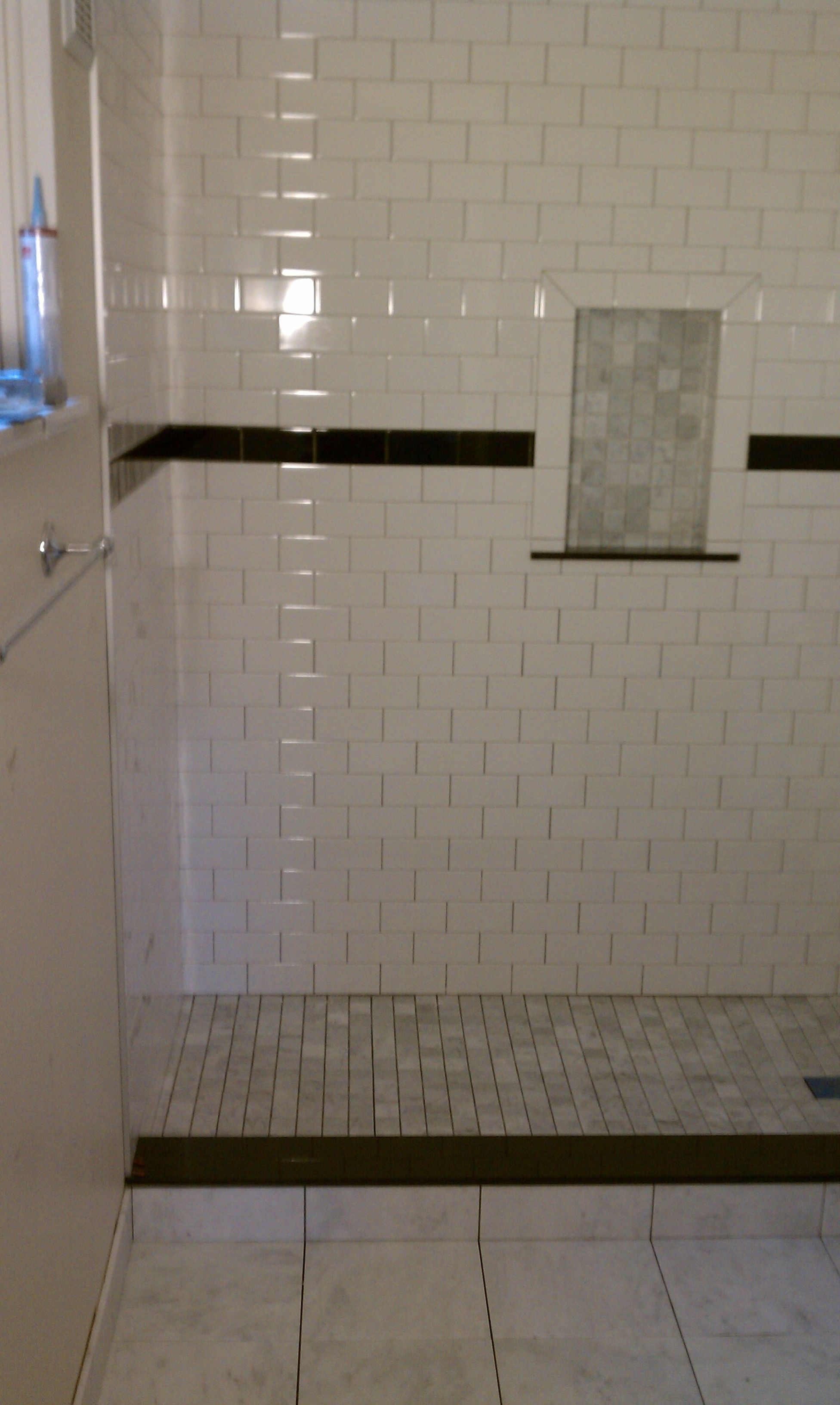 Ceramic Tile Shower With Marble Shower Pan Custom Tile Shower