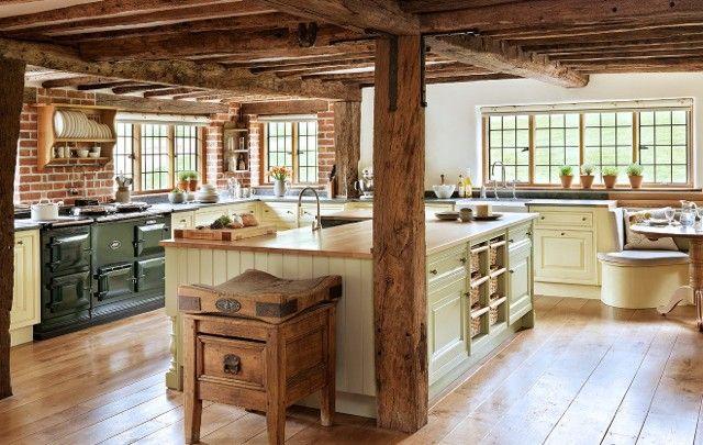 Cuisine-campagnarde-ilot | Idées pour la maison | Pinterest | Interiors