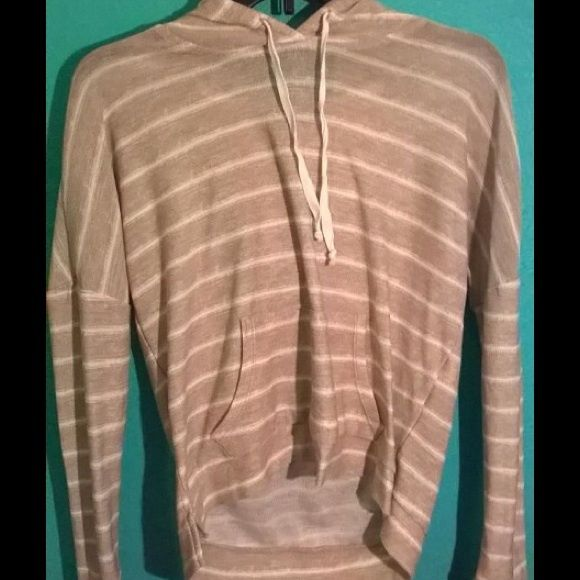 hoodie light weight see through brown and white striped hoodie Jackets & Coats