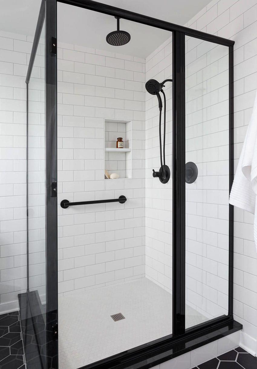 Image Result For Semi Frameless Shower Door In Matte Black Black Shower Doors Matte Black Bathroom White Bathroom Designs