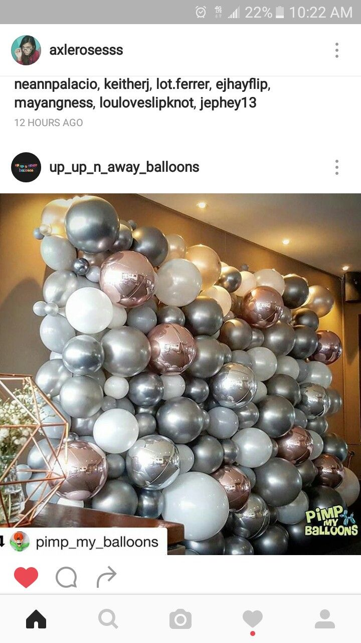 Balloons Grey White Rose Gold Silver Giant Balloons Decor