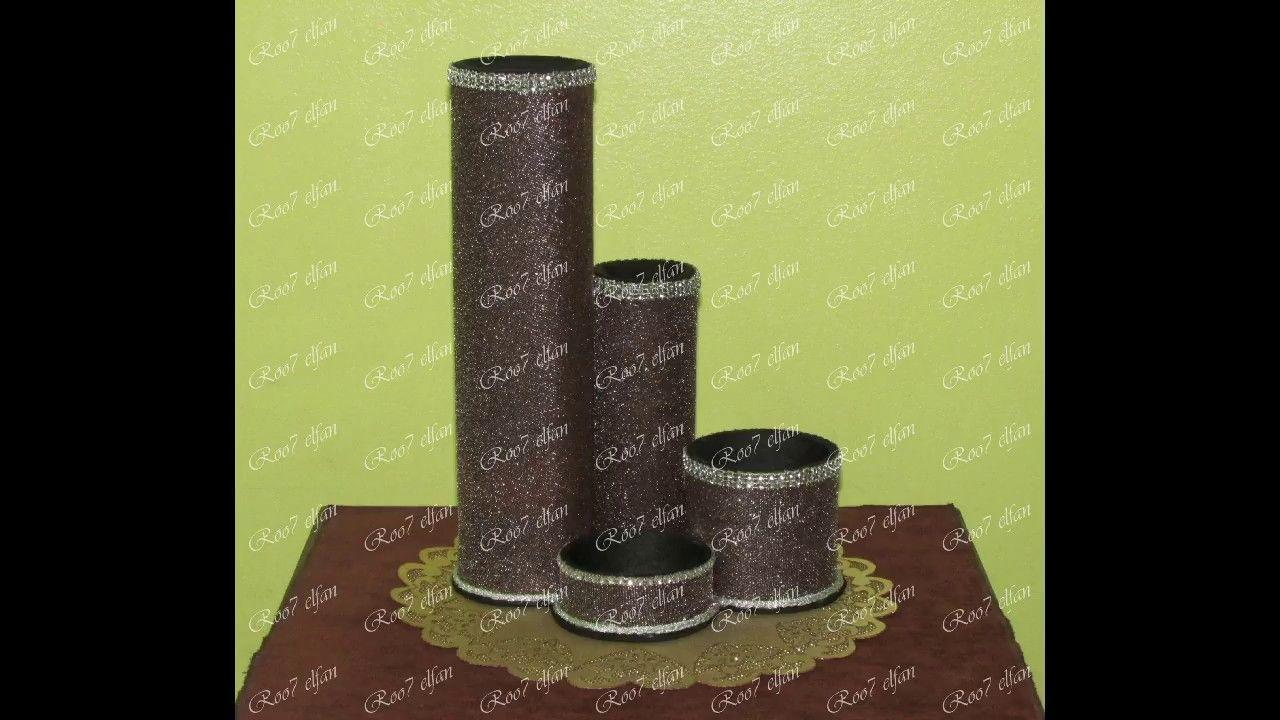 فازة ومنظم أدوات من رول كرتون Vase And Organizer Tools Out Of Cardboard Pillar Candles Candles Home Decor