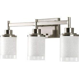 Progress Lighting Alexa 3 Light Nickel Transitional Vanity Light Bathroom Light Fixtures Brushed Nickel Vanity Lighting Bathroom Light Fixtures