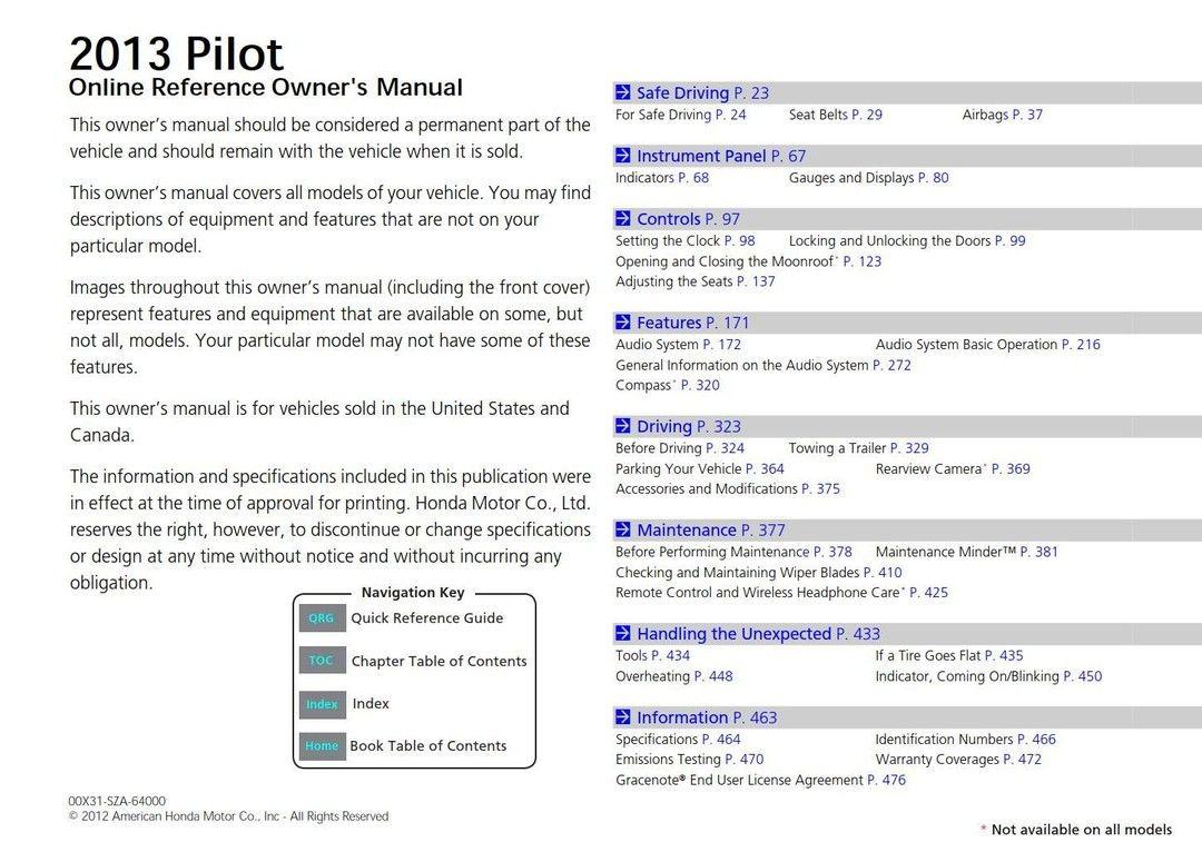 Honda Pilot 2013 Owner S Manual Owners Manuals Honda Pilot Honda Accord