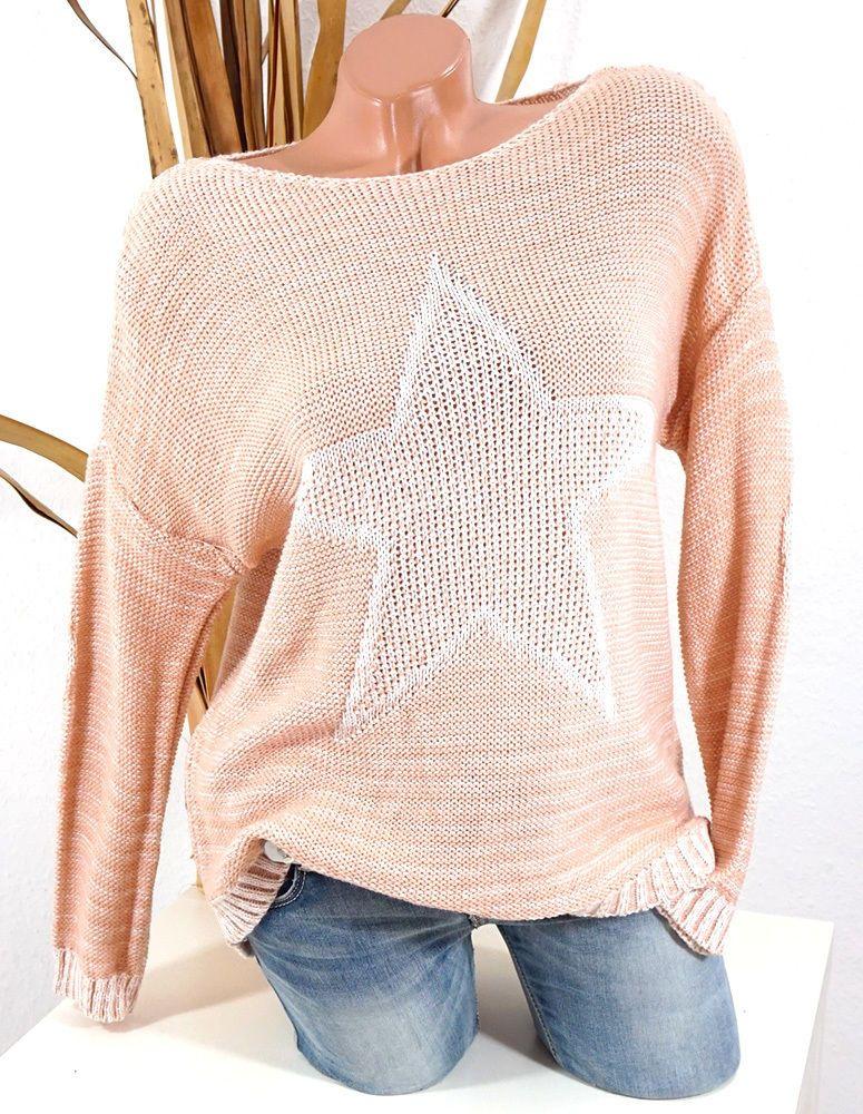 36 38 40 OVERSIZE STRICK PULLOVER STERN UNFINISHED NÄHTE ROSA ROSE NATUR KS481 #Stern #Pullover #Fashion #Fashionblogger #trend #tredy