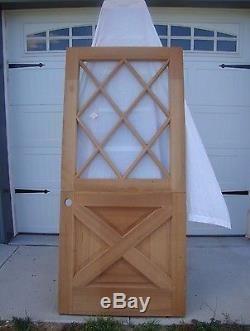 Vtg Solid Wood Dutch Door Crossbuck Diamond Gl Shabby Cottage Exterior Entry