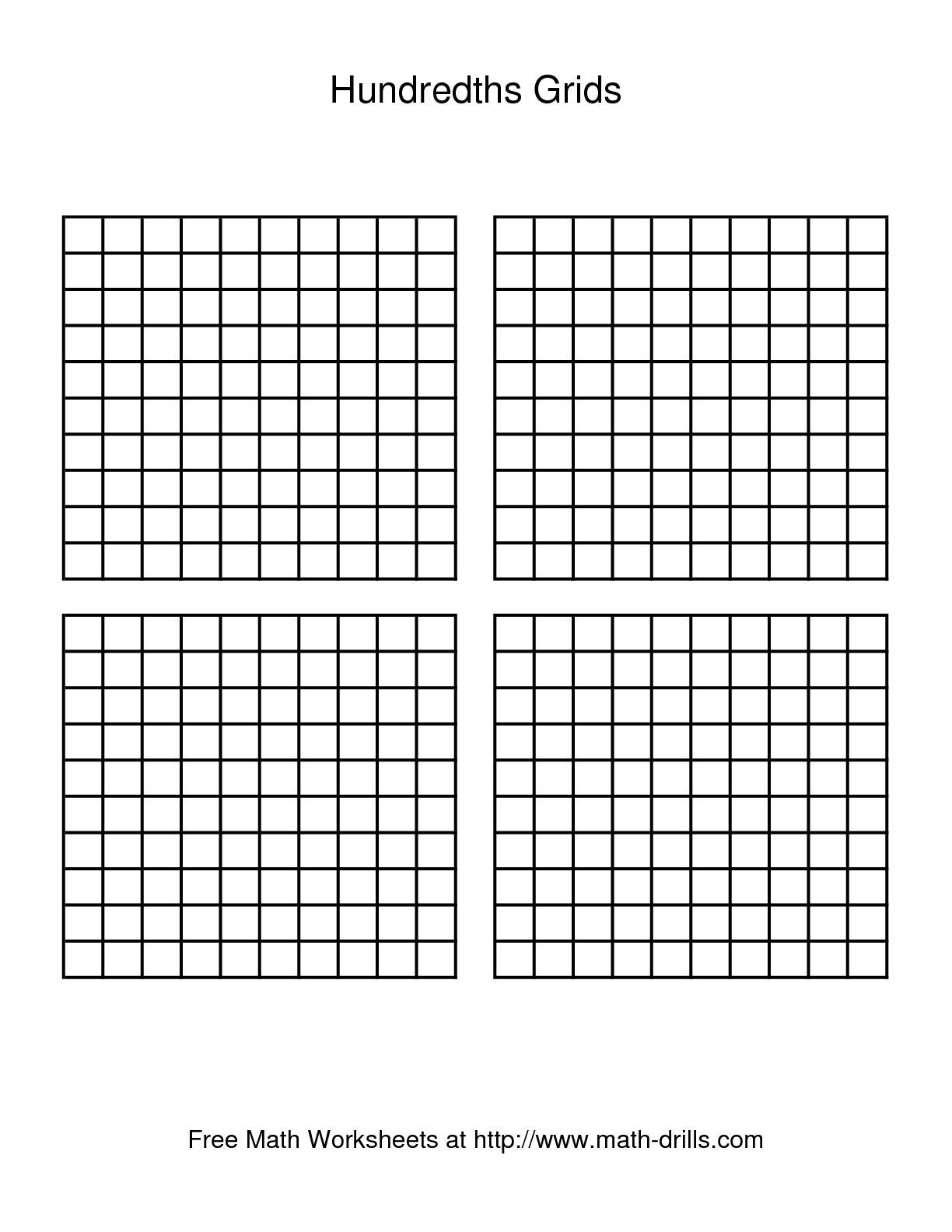 Adorable image inside hundredths grid printable