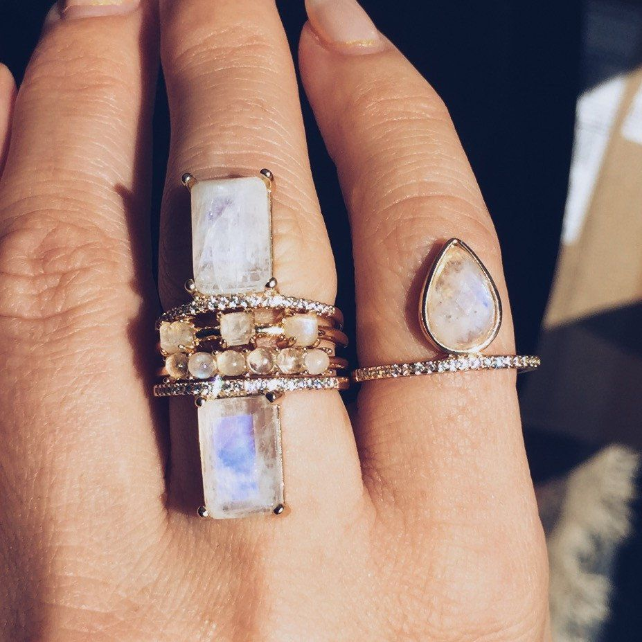 Emerald Cut Moonstone Stacking Ring – local eclectic