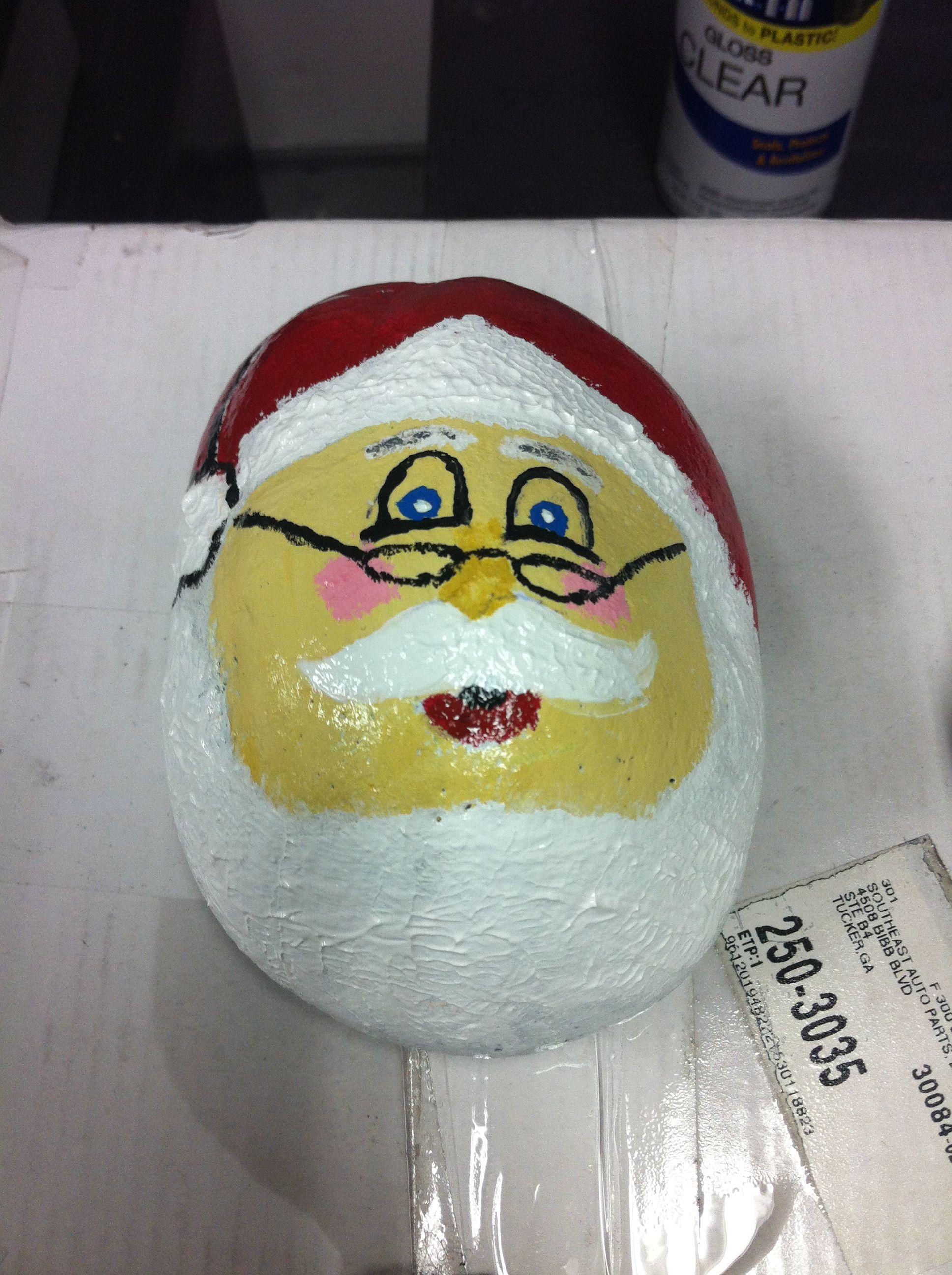 Painted rock: Santa Claus
