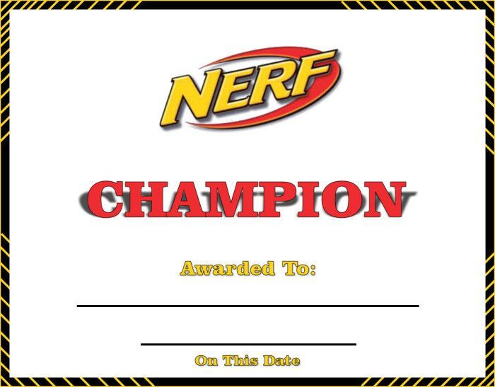 Nerf Rebelle Training Day Champion Certificate Printable - happy birthday certificate templates
