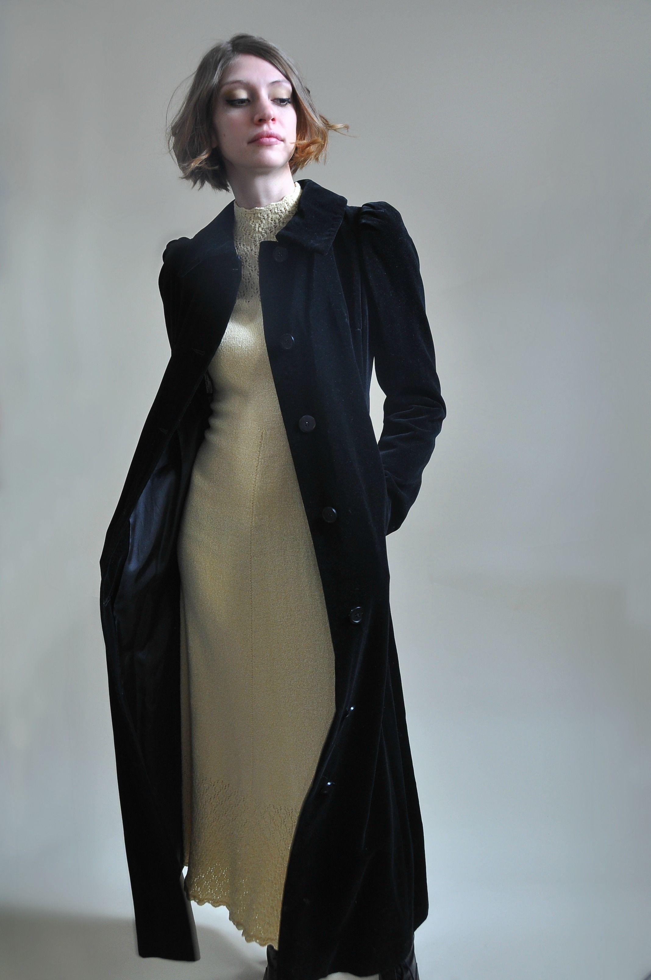 1960s Black Velvet Fitted Maxi Coat