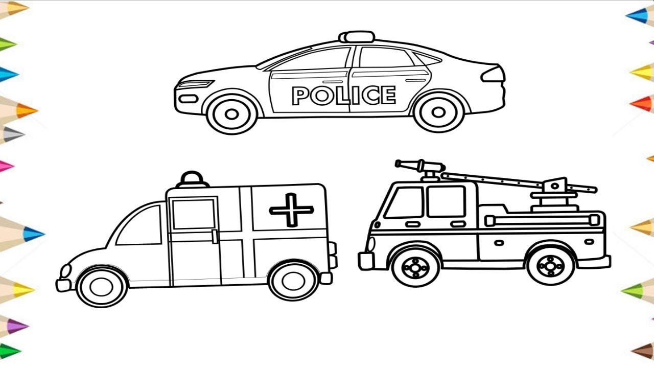 How To Draw A Police Car Fire Truck Ambulance Coloring Pages For