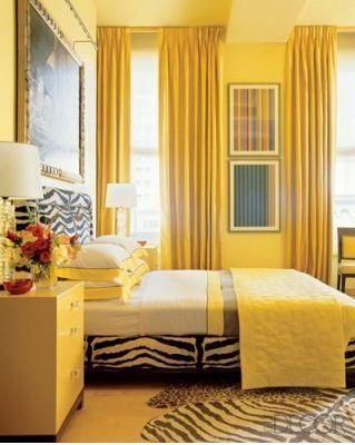 jamie drake yellow bedroom--zebra rug, curtains | yellow