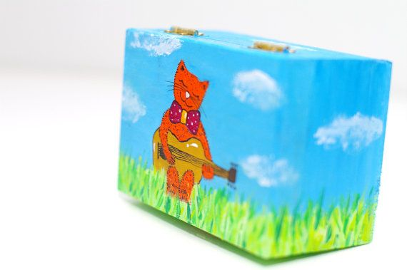 Wooden box painted Child jewelry box Small box Unique christening