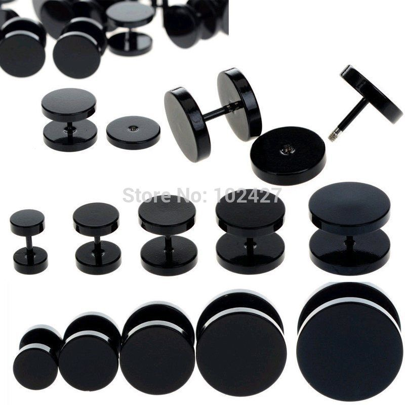 10mm Pair BLACK Faker Stretcher Cheater Stainless Steel Mens Womens Upper Ear Earrings Studs Plug DzPQu