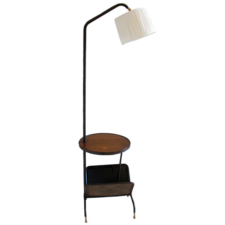 1stdibs A Lamp Table And Magazine Rack By Jacques Adnet Explore Items From 1 700 Global Dealers At 1stdibs Com Vintage Floor Lamp Floor Lamp Lamp