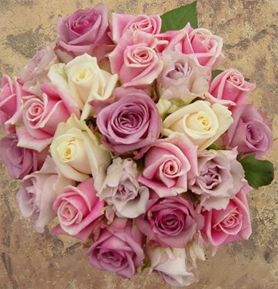 blush pink and light purple with cream roses wedding flower ...