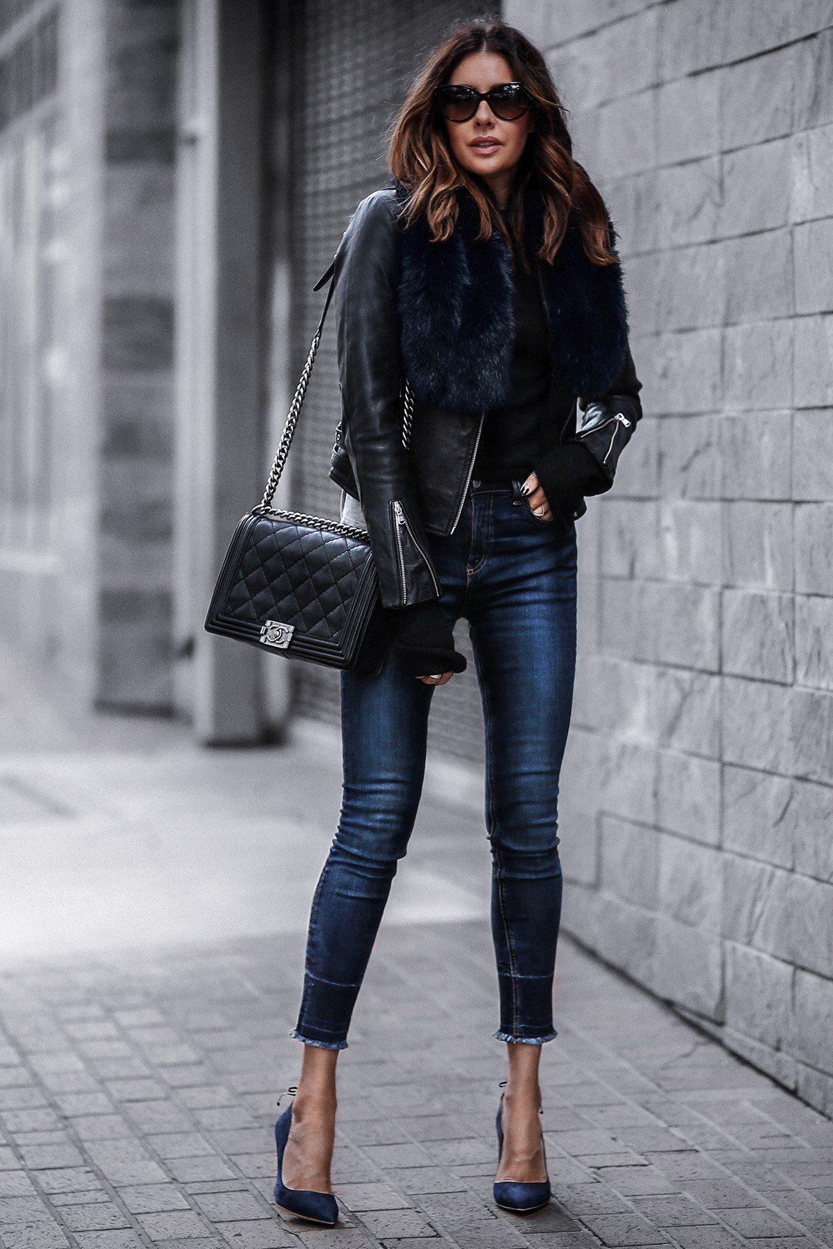 black leather jacket, raw hem skinny jeans, faux fur stole