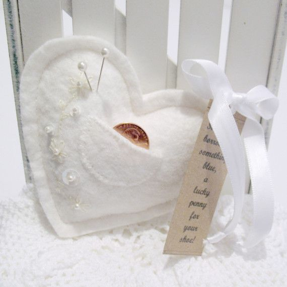 Lucky Penny Bridal Pin Cushion by TwoLeftHands on Etsy