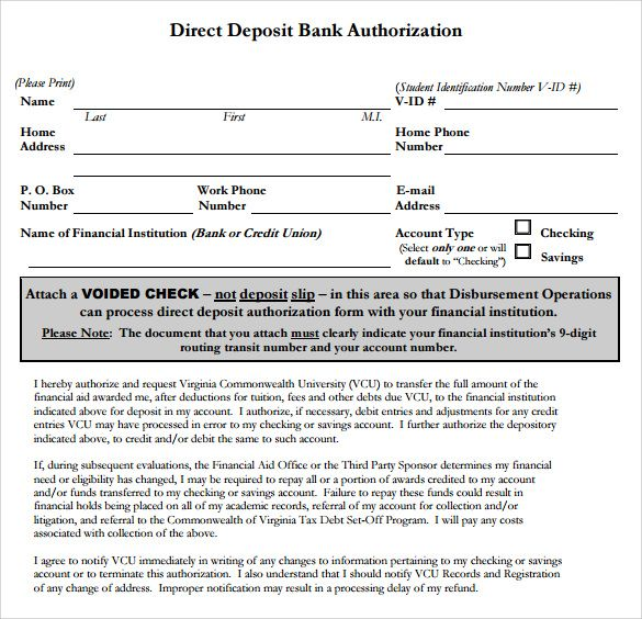 sample direct deposit authorization form examples download free - authorization form template