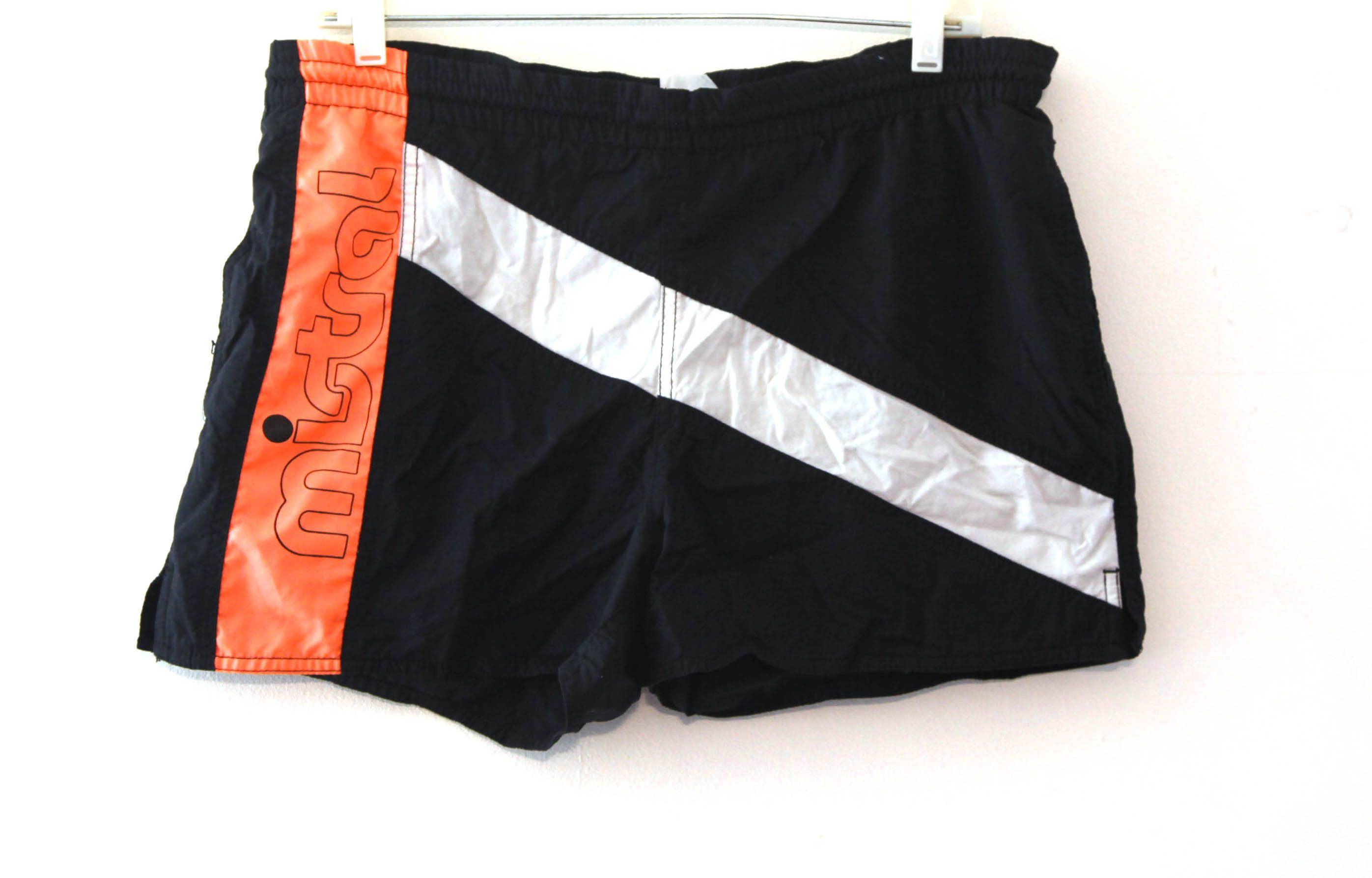 e6eb3f76b2 Vintage 80s shorts swim trunks mistral color block black neon orange by  216vintageModern on Etsy