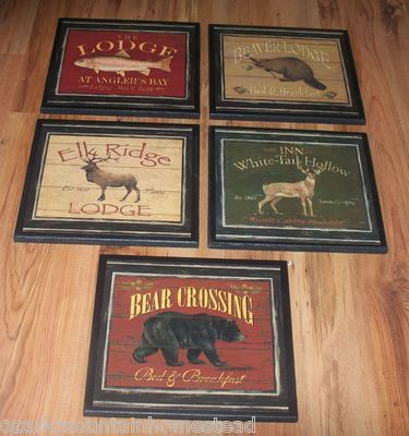 5 Rustic Lodge Wall Decor Plaques Bear Elk Beaver Deer Fish ...