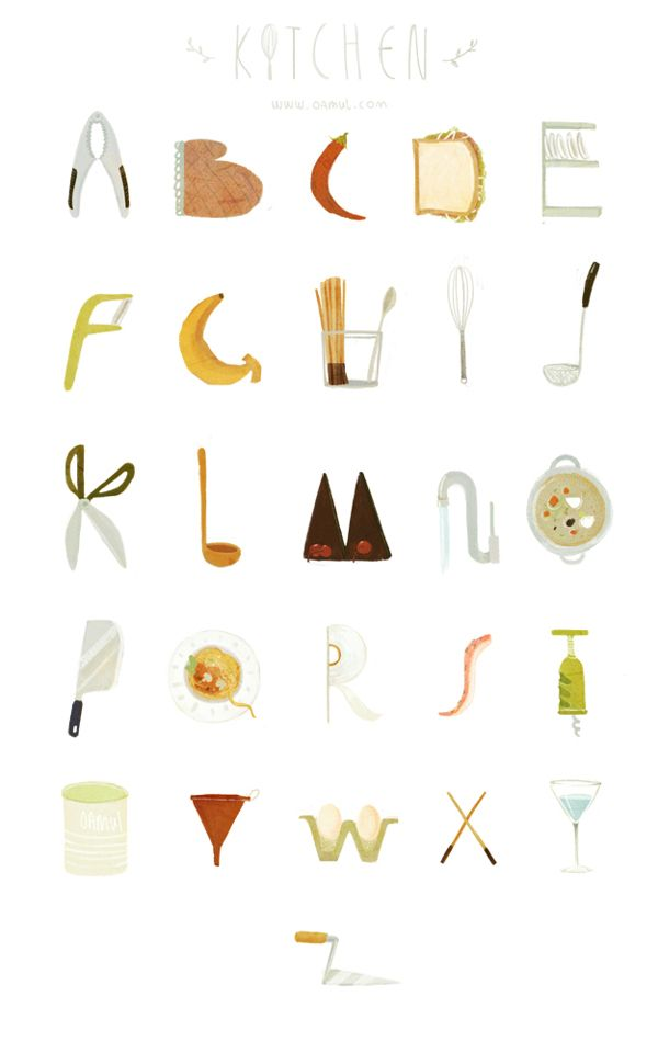 26 letters from kitchen by Oamul Lu, via Behance
