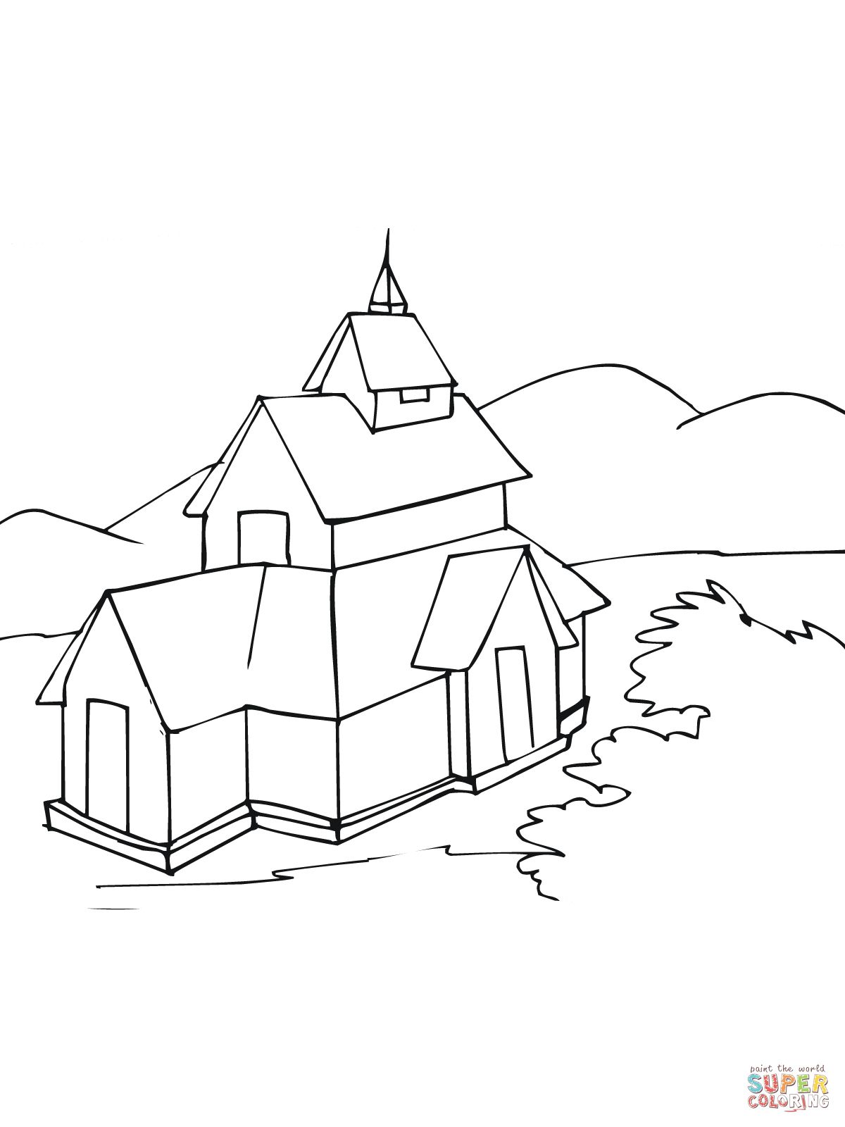 Stave Church Coloring