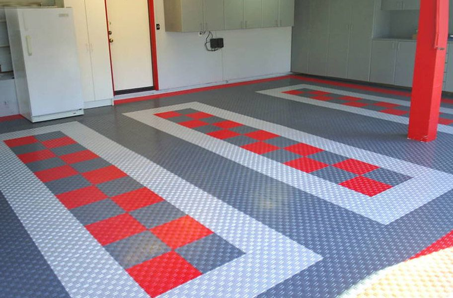 Garage Mancave Inspiration I Diamond Plate Interlocking Tile