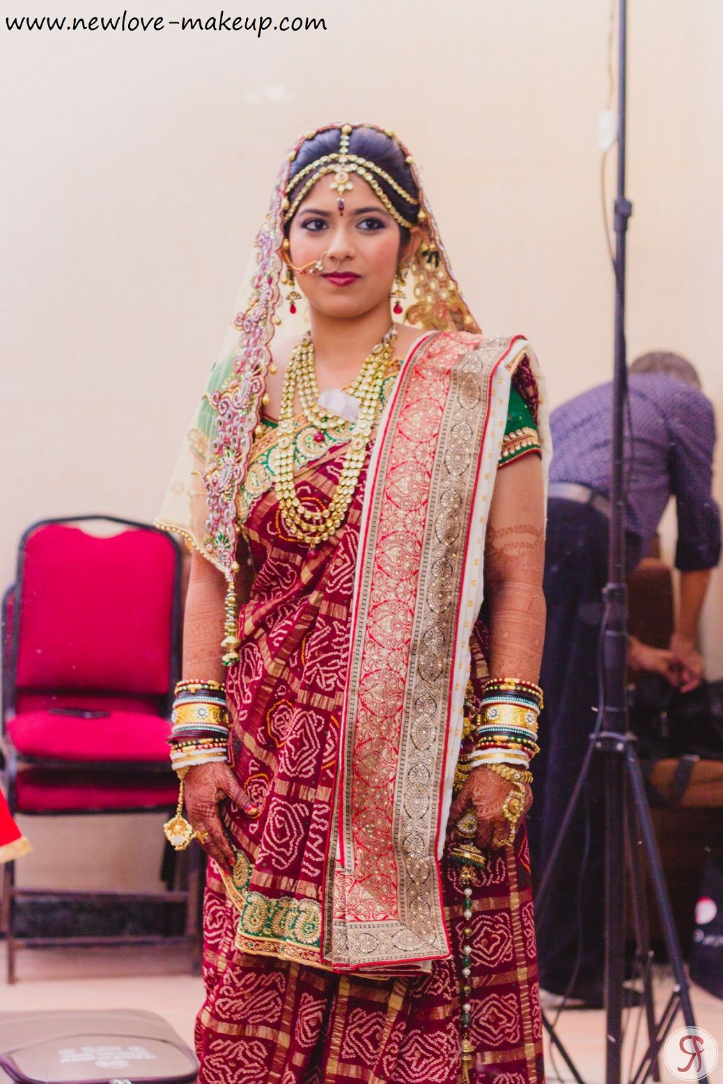 Gharchola combined with Panetar on the Shoulder and Dupatta covering ...