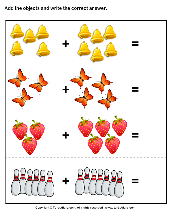 Picture Addition 10   Preschool math worksheets ...