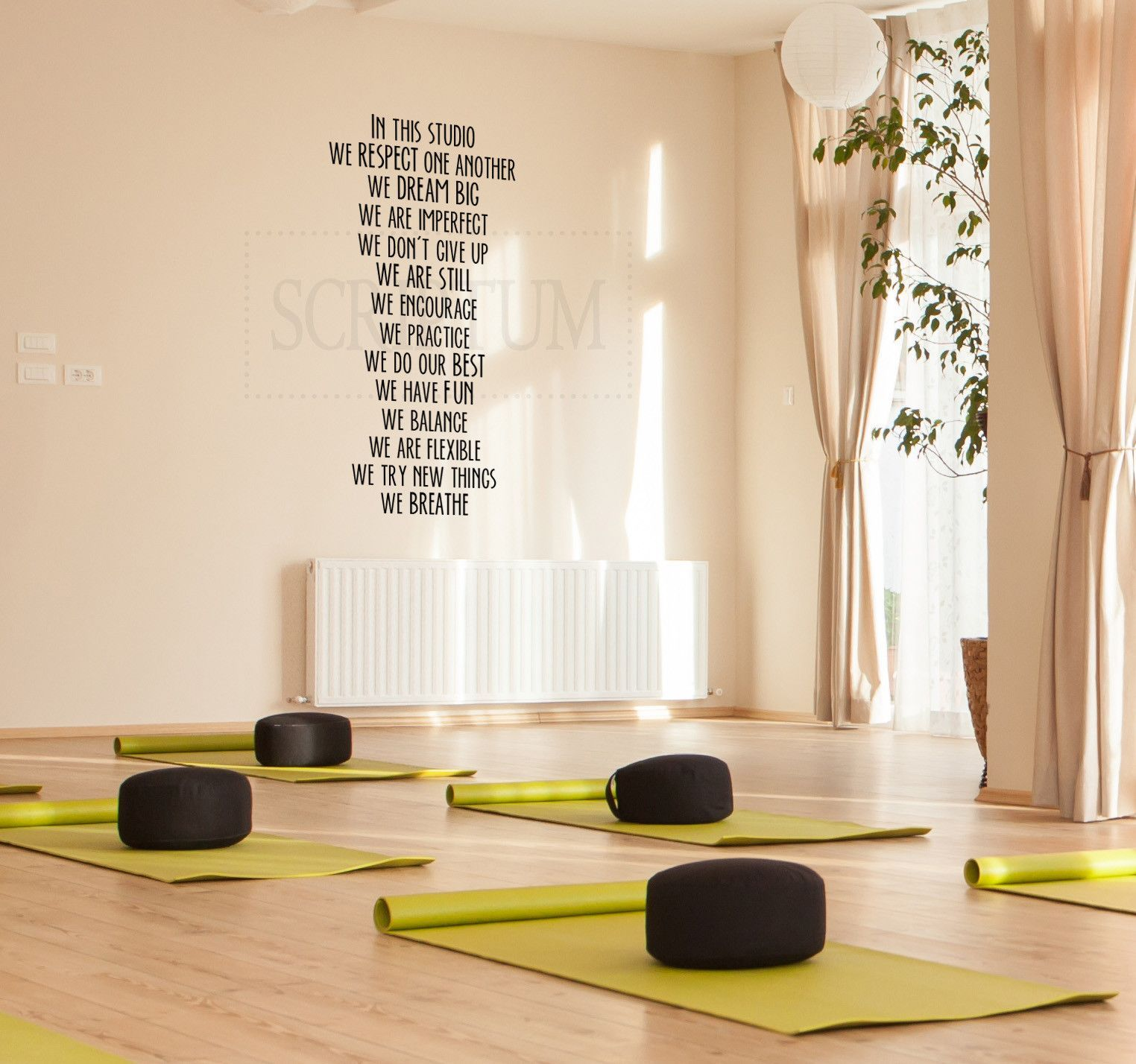 In This Studio Yoga Studio Wall Decal Vinyl Decal Decoración Estudio De Yoga Diseño De Estudio De Yoga Espacio De Meditación