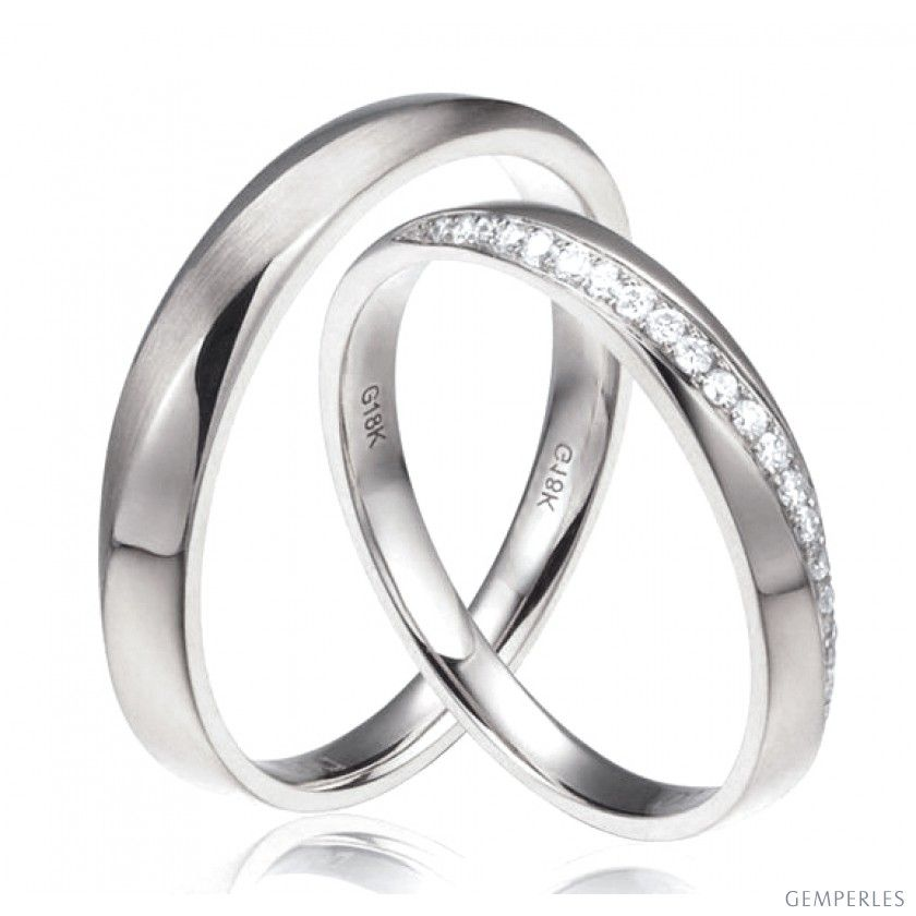 Souvent Alliances modernes homme et femme. Or blanc 18cts, diamants  FP23
