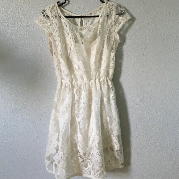 Cream Hollister lace overlay dress Still in good condition! Worn only a handful of times. Size medium Hollister Dresses Mini