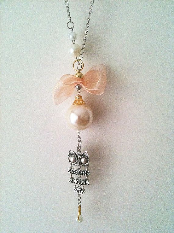 abb69d1efd8a Owl Necklace with pink bow and white beads by ArtofAccessory