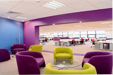 office color design. the purple blue and yellow colors shown create a triadic color scheme this emphasizes contrast in bringing them out space design is office