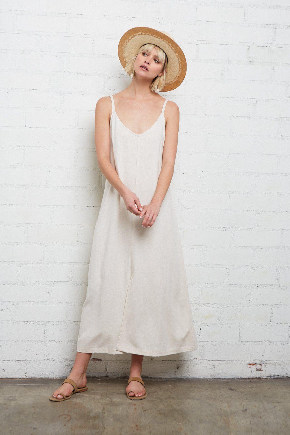 Linen Tallulah Dress In 2020 Linen Slip Dress Casual White Dress Summer Linen Dresses