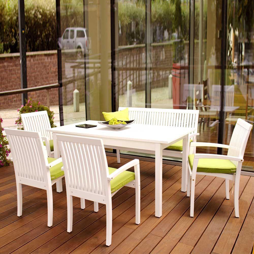 gartensitzgruppe in weiß ausziehbar (6-teilig) jetzt bestellen, Garten ideen