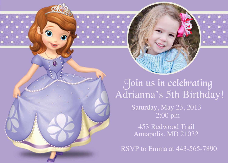 Sofia the First Custom Personalized Birthday Invitation. $8.99, via ...