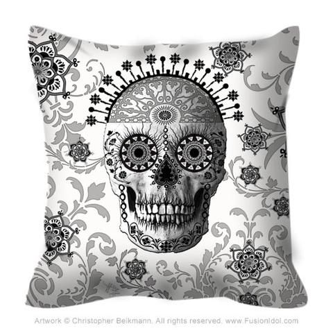 Black and White Sugar Skull Throw Pillow - Victorian Bones - Fusion Idol - Art and Gifts by Artist Christopher Beikmann