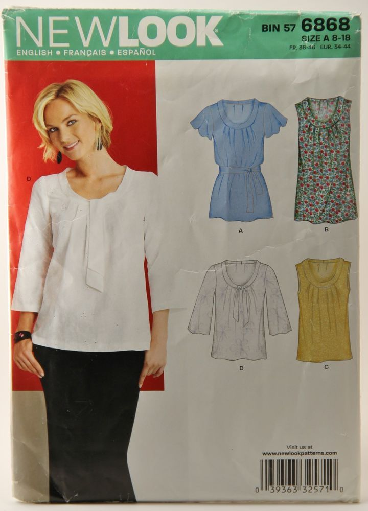 Uncut New Look Sewing Pattern 6868 Women\'s Tops Blouses size 8 10 12 ...