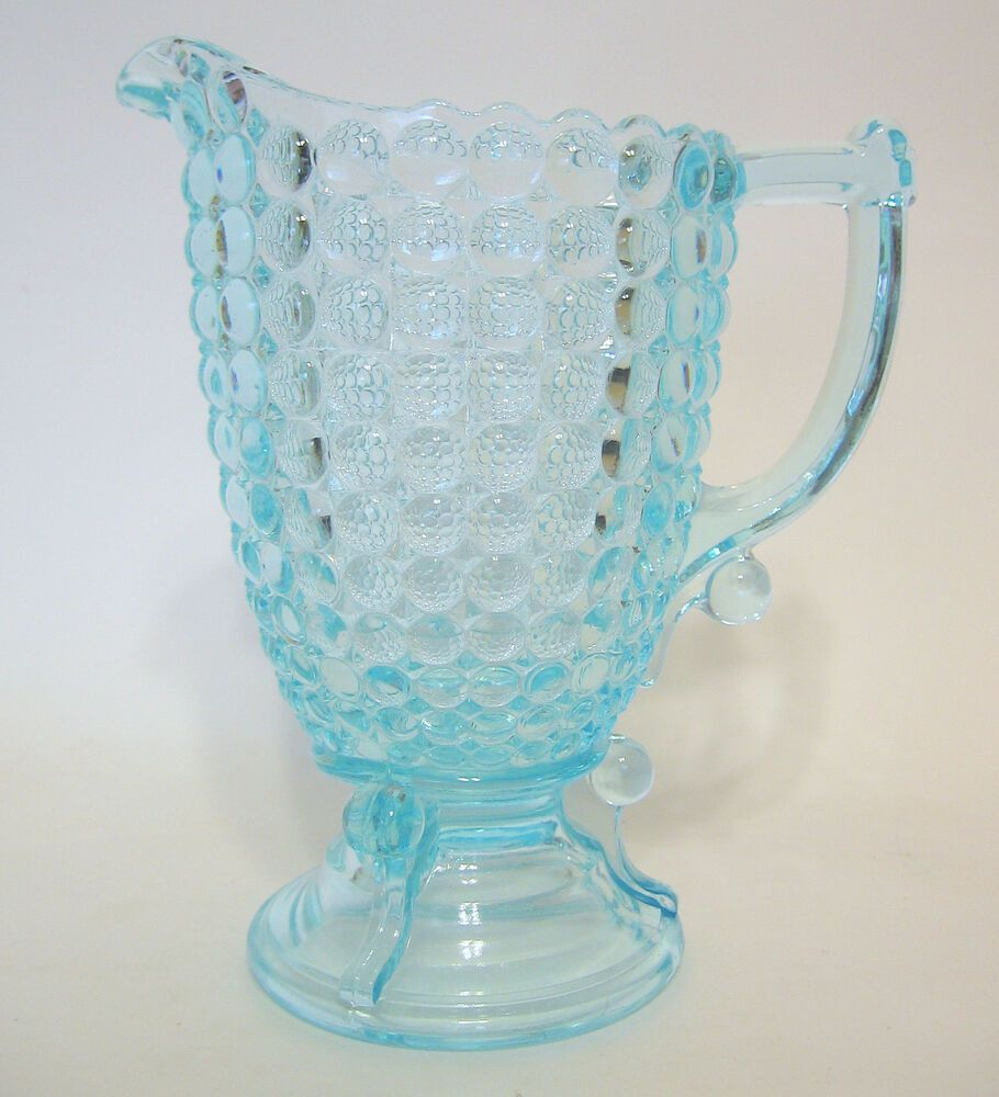 Vintage Blue Bubbled Glass Pitcher Decorative Handle And Foot 6